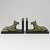 A pair of art déco marble and metal book ends, 1930s.