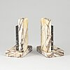 A pair of art déco marble book ends, 1930s.