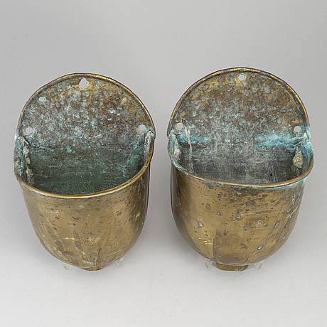 Two 19th century brass holy water bowls.