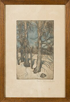 EERO JÄRNEFELT, softground etching, signed.