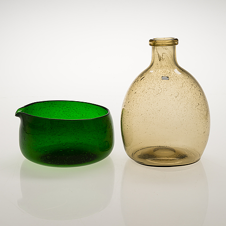 "Kaj franck, a set of five art glass objects ""sargasso"", signed nuutajarvi notsjö."
