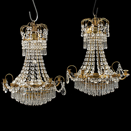 A pair of empire style chandeliers, second half of the 20th century.