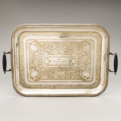A silver-plated tray, ca 1900.