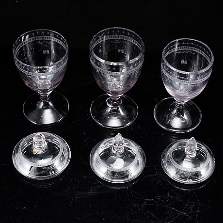 3 swedish glasses, gustavian style, circa 1900.