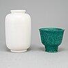 Wilhelm kÅge, two stoneware vases from gustavsberg.