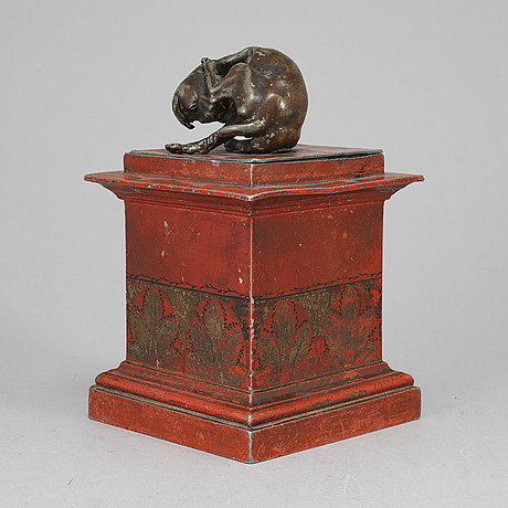 A painted biedermeier tobacco jar, probably germany, early 19th century.