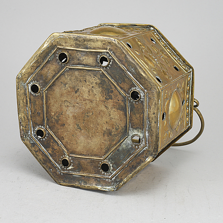A baroque brass container, probably netherlands. 18th century.
