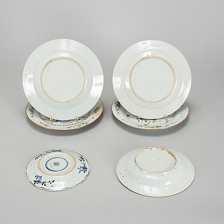 A group of famille rose and blue and white dishes, qing dynasty, qianlong (1736-95).