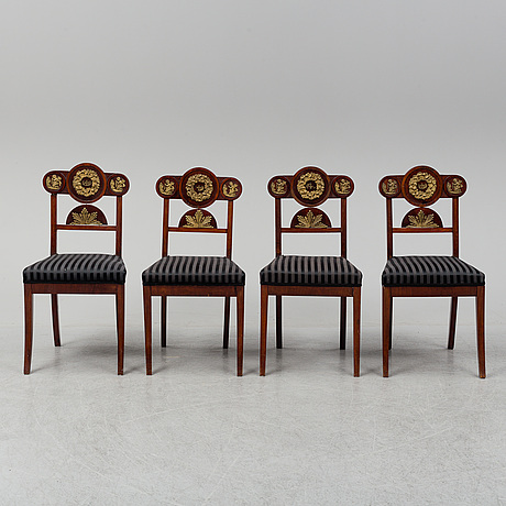 Four swedish empire chairs, 1820-30's.
