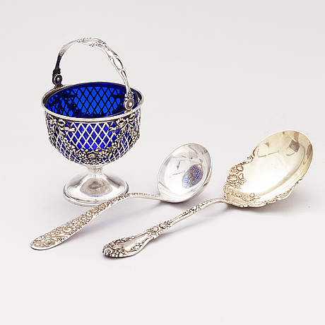 A sterling silver bowl, server and ladle, new york and baltimore, the first half of the 20th century.