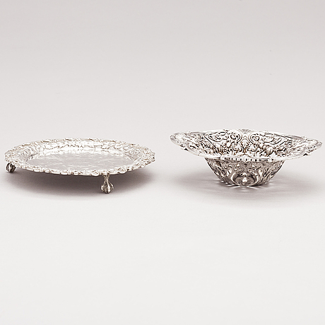 A sterling silver bowl, sprinkle spoon and salver, gorham and s.kirk & son, usa, last quarter of the 19th century - 1924.