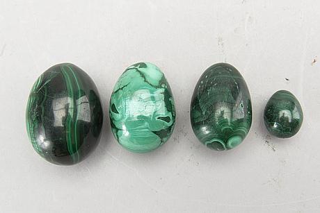 Four malakite eggs.
