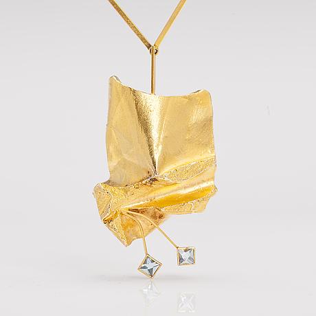 "BjÖrn weckstrÖm, an 18k gold necklace""tuulenpuuska"" with two aquamarines. lapponia 1967."