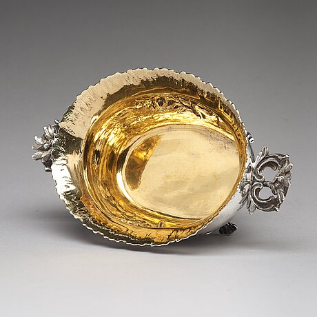 A swedish 18th century parcel-gilt silver bowl, mark of jons granbom, stockholm 1786.