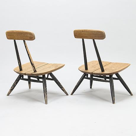 Ilmari tapiovaara, a pair of 1960's 'pirkka lounge chairs' by laukaan puu, finland.