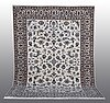 A carpet, nain, part silk, ca 338 x 245 cm.