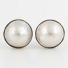 18k white gold mabe pearl earrings.