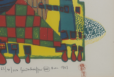 Friedensreich hundertwasser, lithograph in colours signed dated and numbered 63/90 1967.