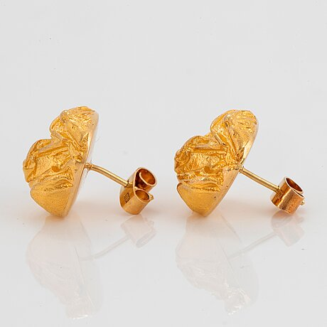 "A pair of 18k gold lapponia earrings ""Ökenros"" design björn weckström."