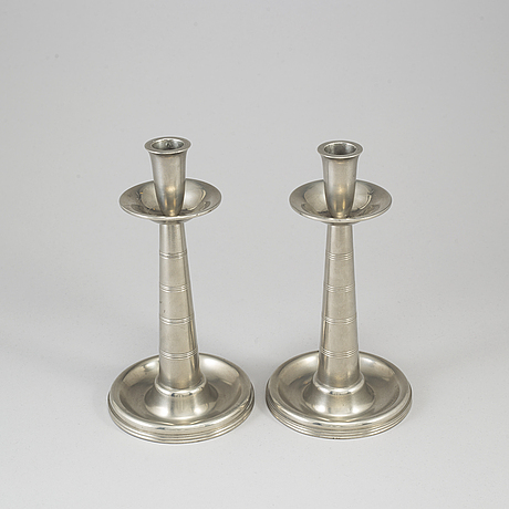 A pair of swedish 20th century  pewter candlesticks for gab.