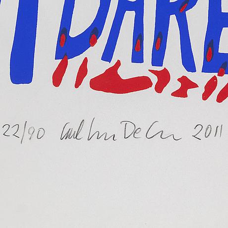 Carl johan de geer, silk screen, signed carl johan de geer, dated 2011 and numbered 22/90 in pencil.