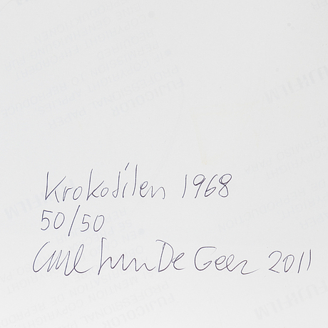 Carl johan de geer, photograph, signed carl johan de geer, dated 2011 and numbered 50/50 on verso.