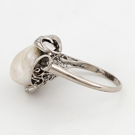 Baroque pearl and eight-cut diamond ring.
