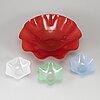 Sven palmqvist, 4 glass bowls, orrefors.