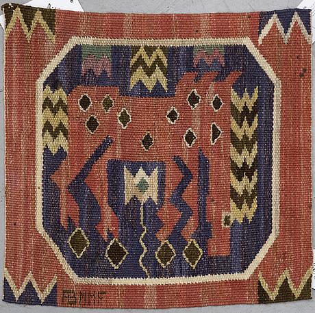 "MÄrta mÅÅs-fjetterstrÖm, a textile, ""röd häst"", tapestry weave, ca 41 x 40,5-41 cm, signed ab mmf."