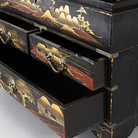 A lacquered cabinet, japan, 20th century.