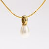 A 14k gold necklace with a cultured pearl.