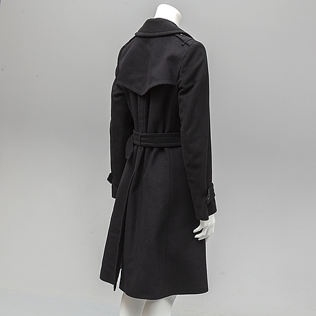 Burberry, a wool and cashmere blend coat, size 36.