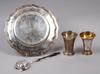 Tallrik, 2 bÄgare, tesil, silver, bla anders bollwij, falun, 1800-1900-tal.