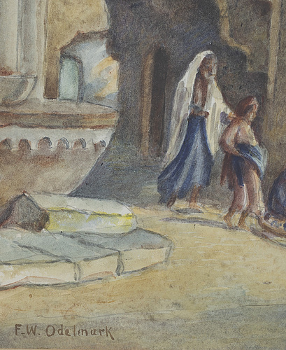 Frans wilhelm odelmark, watercolor, signed f.w. odelmark.