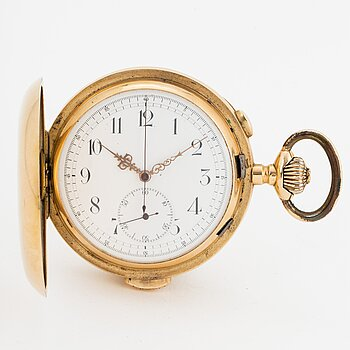 POCKET WATCH, 58 mm, hunter case, repeating, chronograph,