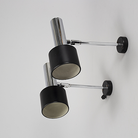 A pair of chrome wall lights, second half of the 20th century.