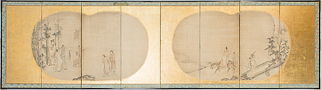 Unidentifiedartist, two 17th-century japanese folding screens, watercolour on paper, signed.