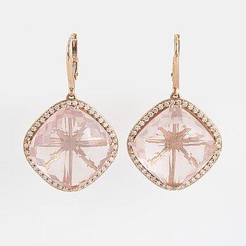 Checker-cut rose-quartz and brilliant-cut diamond earrings.