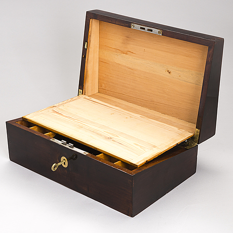 A wooden box from around the turn of the 20th century.