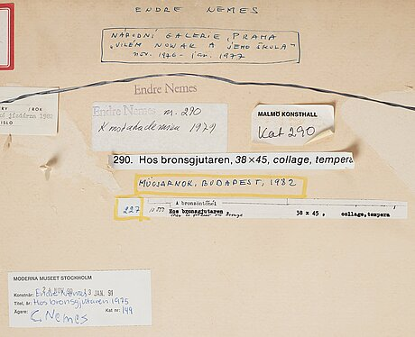 Endre nemes, collage and mixed media, signed and dated 1975.