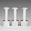 Sigurd persson, a set of three sterling silver candlesticks, stockholm 1965 and 1970, executed by johann wist.