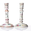 Two famille rose candle sticks, qing dynasty, qianlong (1736-95).