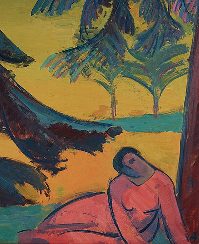 André lhote, landscape with reclining woman.