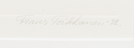 Frans toikkanen, etching, signed and dated -92, numbered iii/xxv.