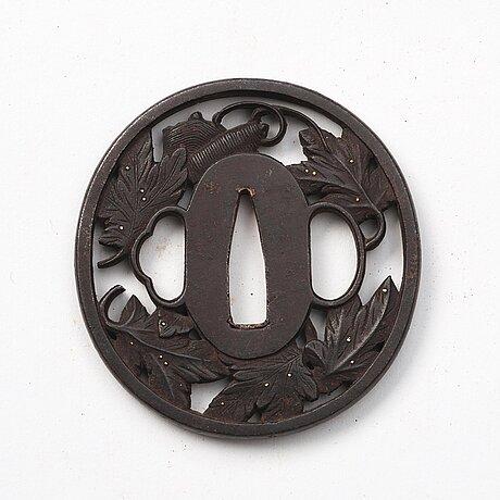 A set of five bronze tsubas, japan, 19th century.