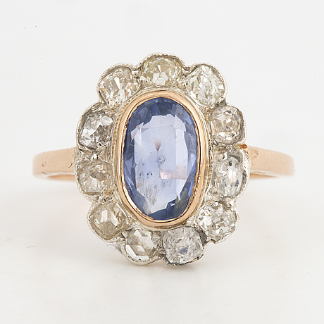 Sapphire and old-cut diamond cluster ring.
