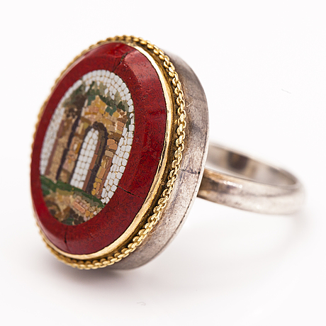 A silver and gold ring with micro mosaic framed by purpurin glass. giron & lönngren, stockholm 1843.