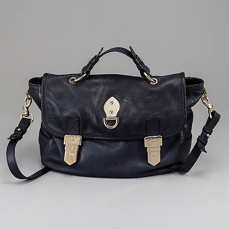 Mulberry, a navy leather handbag.