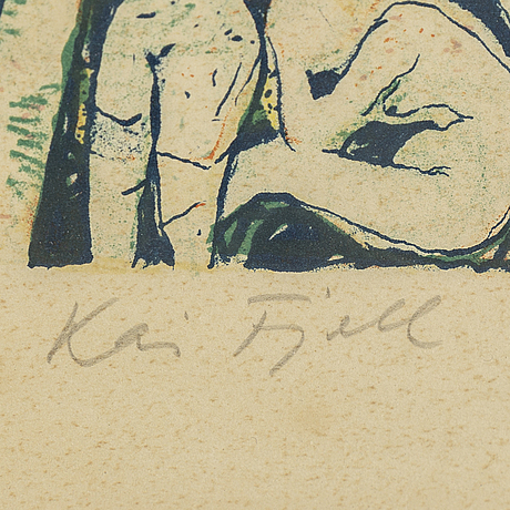 Kai fjell, lithograph in colours,1948, signed 297/350.