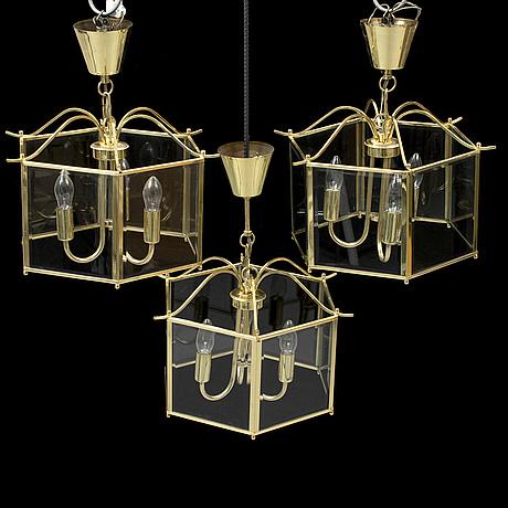 Three second half of the 20th century brass lanterns.